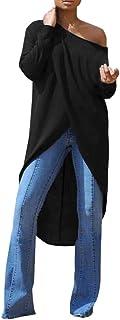 Vestito da donna, alla moda, da donna, con scollo a O, a maniche lunghe, apertura forcella, ideale per l'estate