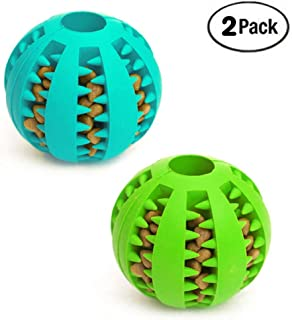 Dog Toy Ball, Nontoxic Bite Resistant Toy Ball for Pet Dogs Puppy Cat, Dog Pet Food Treat Feeder Chew Tooth Cleaning Ball Exercise Game IQ Training Ball 7CM, 2 Pack- Blue & Green