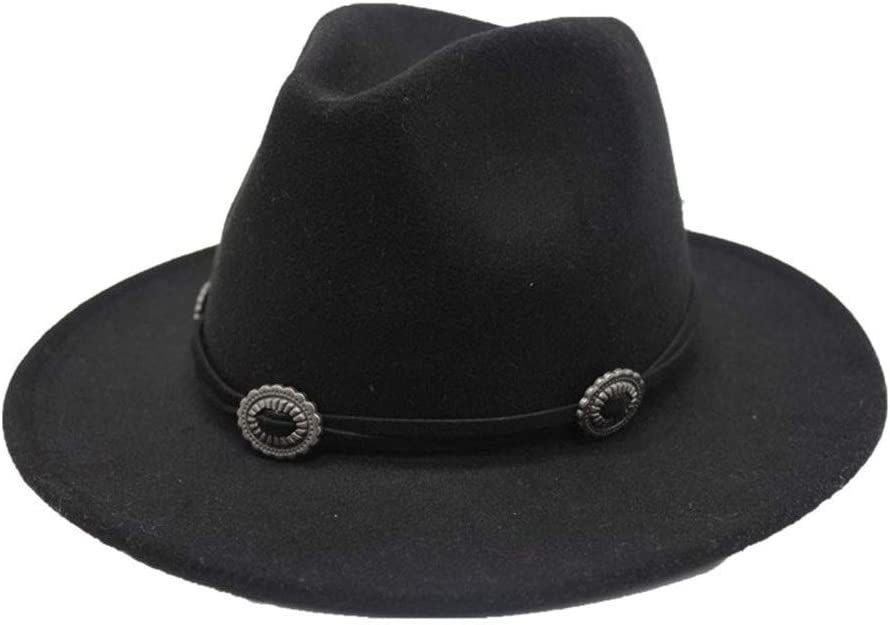 no-branded Elegant Fedora Hat Metal Belt Ladies Wide-Brimmed Felt Hat Cotton Panama Straw Hat Retro Top Hat Panama Hat ZRZZUS (Color : Black, Size : 59-61cm)