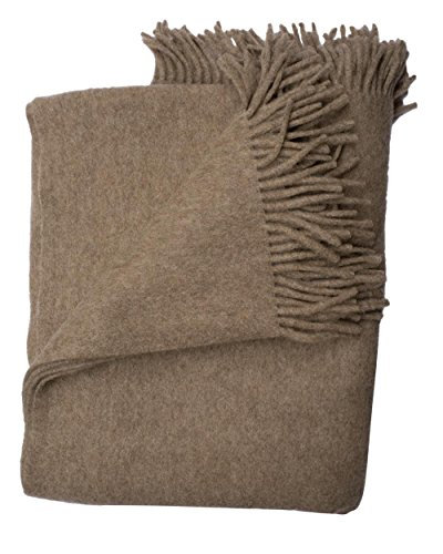 STEINBECK, Decke Gobi aus 100% Mongolische Lambswool (Naturbraun, 140/190 cm)