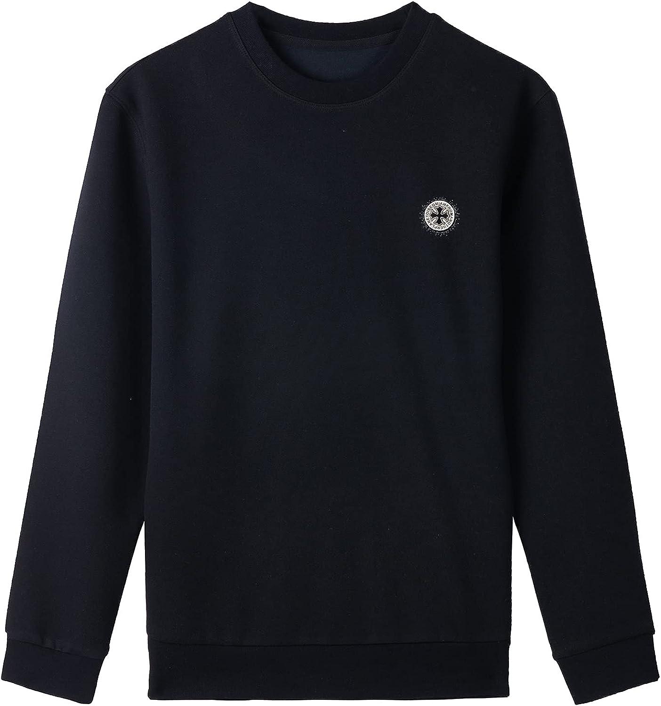 Votsein Men's Basic Sweatshirts Crew Neck Long Sleeve Classic Essential Fleece