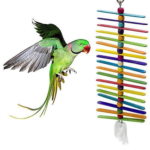 LEUM SHOP Haustier Vögel Papagei Holz Stick Perlen Swing hängen Kau Spielzeug Käfig Dekor Random Color