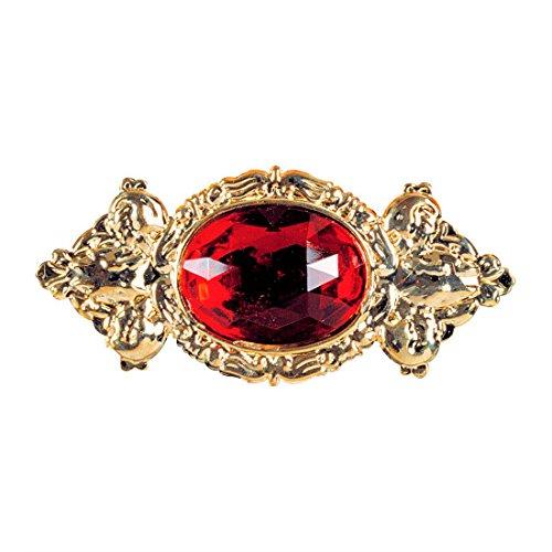 Amakando Barock Brosche Vintage Anstecker Gold, mit rotem Stein Kragen Ansteck Pin Baron...
