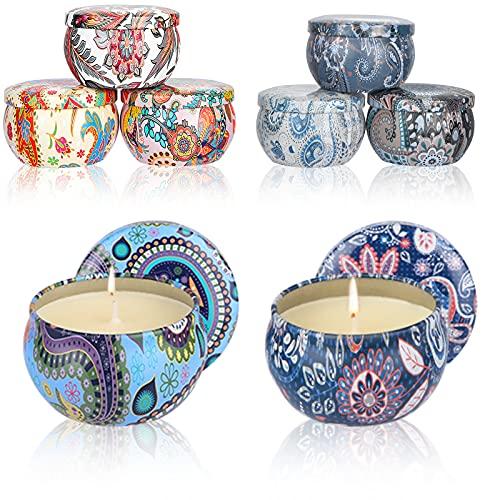 UIHOL Velas Perfumadas Aromaticas 8 PCS, Caja de Regalo para Damas, 100% de Cera de Soja Candle Velas Perfumadas de Lata de Viaje para Aliviar el Estrés,Cumpleaños,Día de San Valentín,Día de La Madre