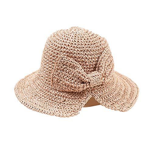 DOLDOA Hut Damen Sommer,Stroh Sommer Hüte Frauen Damenmode Faltbare Strand Sonnenhut Krempe (Rosa)
