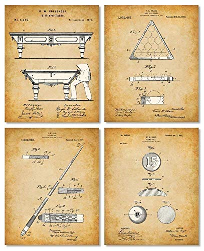 Original Pool Billiards Patent Art Prints - Set of Four Photos (8x10) Unframed - Makes a Great Gift Under $20 for Pool Players, Game Rooms or Man Caves
