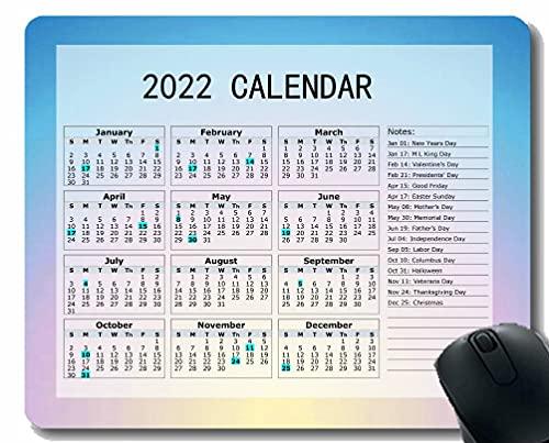 Calendario 2022 año Mouse Pad, Sunrise Sunset Color Color Desktop Notebook Alfombrilla de ratón para Trabajar y Juegos