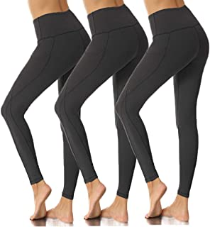 High Waist Yoga Pants with Pockets for Women, Workout Yoga Leggings Tummy Control Running, 4 Way Stretch-No See Through