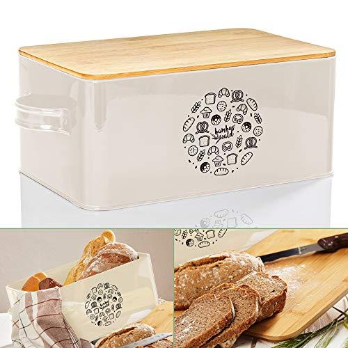 bambuswald© Brotbox aus Metall mit ökologischem Deckel aus Bambus - ca 40x21x16cm | Brotkasten für Croissants, Brot o. Brötchen | Brotbehälter mit Küchenbrett | Aufbewahrung Vorratdose Brotdose