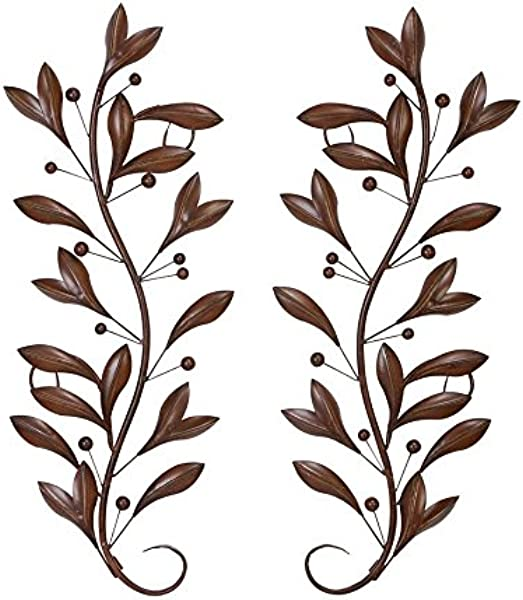 Deco 79 63048 Loft Nature Metal Leaf Wall Decor 14 By 36 Inch Antique Brown Black Sold In Pairs