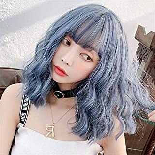 Short Bob Wavy Wigs with Bangs Blue Mixed Wigs for women Heat Resistant Fiber Wig Curly Synthetic Wig Daily Party Cosplay ...