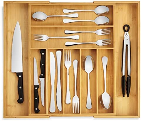 RMR Home Bamboo Silverware Drawer Organizer Expandable Kitchen Drawer Organizer and Utensil product image