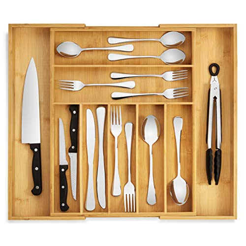 RMR Home Bamboo Silverware Organizer - Expandable Kitchen Drawer Organizer and Utensil Organizer, Perfect Size Cutlery Tray with Drawer Dividers for Kitchen Utensils and Flatware (7-9 Slots) (Natural)