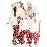 Geagodelia Pijama de Navidad para familia, cálido, sudadera con capucha, peluche+ pantalones, chándal para familia de Navidad, manga larga, ropa de entretiempo para otoño e invierno Blanco--papá S