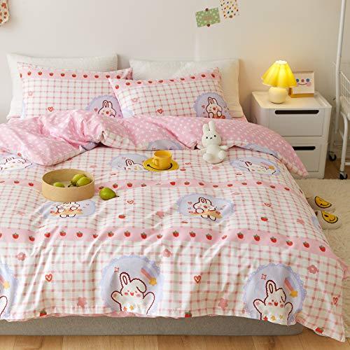 LAYENJOY Strawberry Duvet Cover Set Queen 100% Cotton Cartoon Rabbit Bunny Heart on White Bedding 1 Pink Plaid Comforter Cover Full with Zipper Ties 2 Pillowcases for Kids Teens Boys Girls Women