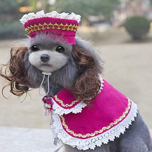 zhixing Katze Hund Gothic Lolita britischen Stil Rose Mantel mit Mütze Halloween Cosplay Kostüme Outfit für kleine mittlere andere Haustiere Kaninchen Pudel Bulldog Pommerschen Corgi Kostüm
