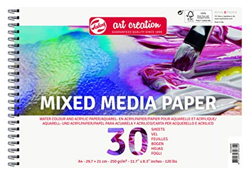 Talens Art Creation Mix Media Lot de 30 Feuilles de Papier A4 250 g/m²