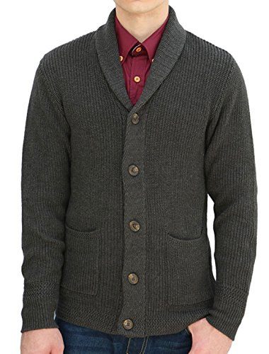uxcell Men's Shawl Collar Single Breasted Front Pockets Long Sleeves Cardigan Dark Gray XL US 46