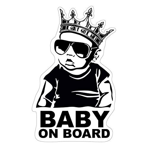 Baby on Board Aufkleber 12x7cm Auto Sticker -Finest Folia Autoaufkleber UV- Wetterfest Wasserfest Hangover R043 (Junge, Baby on Board Krone)