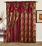 Golden Rugs Jacquard Luxury Curtain Window Panel Set Curtain with Attached Valance and Backing Bedroom Living Room Dining 112'X84' Each Jana Collection (Burgundy)