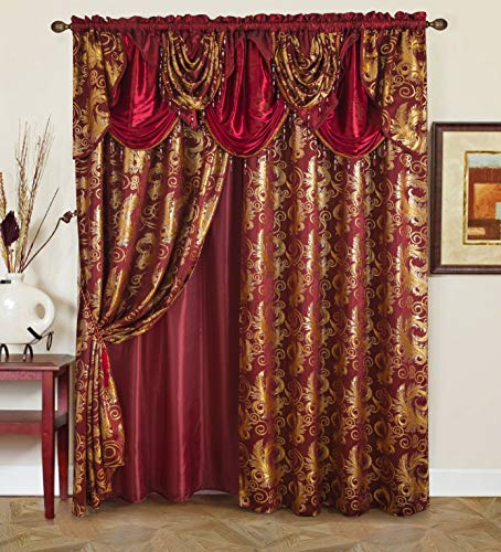 "Golden Rugs Jacquard Luxury Curtain Window Panel Set Curtain with Attached Valance and Backing Bedroom Living Room Dining 112""X84"" Each Jana Collection (Burgundy)"