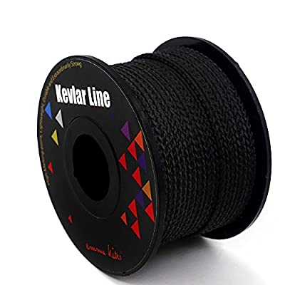 emma kites 100% Braided Kevlar String Black 100ft 700lbs High Tensile for Outdoor Activities, Tactical, Survival and Other General Purpose