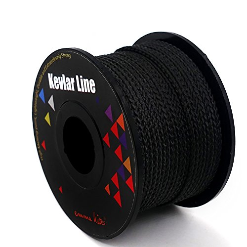 emma kites 100% Black Kevlar Braided Cord 100Ft 100Lb High Strength, Abrasion Flame Resistant, Tough Survival Tactical Cord Model Rocket Paracord Snare Line Fishing Assist Cord