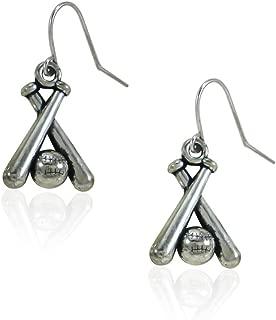 fidaShop New Stainless Steel Baseball and Baseball Bat Accessories Jewelry Dangle Earrings