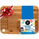 Chop'Zen Organic Bamboo Cutting Board Set of 3 - Wood Chopping Bamboo Board for Vegetables, Charcuterie, Meat, Bread & Cheese   3 Pack Small Medium Large Cutting Board Set