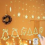 Luces de Cortina de Estrella, 138LEDs 3.5M Estrellas Patrón de Navidad Guirnalda, Led Cortina Cadena de Luces, 8 Modos Ajustables Guirnalda Luminosa de Cortina para Bodas, Navidad, Interior, Exterior
