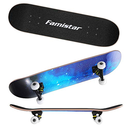 9 Layers Maple Wooden 31''x7.8'' Complete Skateboards - Max. Support 330lbs Standard Skateboards, Double Kick Concave Deck Skating Skateboard for Adults Beginners Starter Teens Kids Boys Girls As Gift