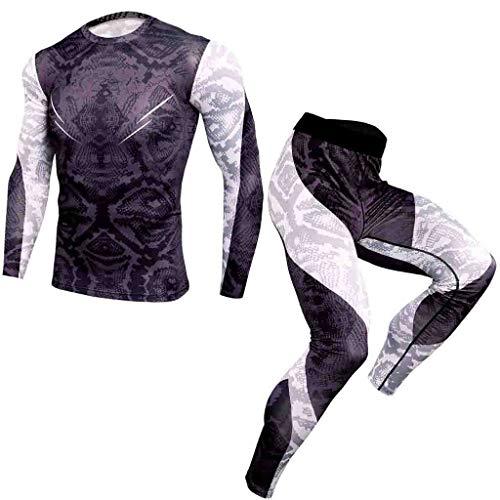Yowablo Kompressions-Eignung-Kleidung 2Pcs / Satz, laufende Feuchtigkeits-Wicking Breathable Schnelltrocknender Sport-Anzug (L,10- Grau)