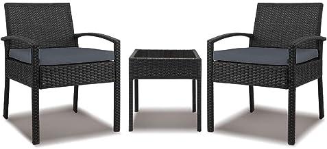 Gardeon 3pc Outdoor Furniture Rattan Set Chair Table Garden Wicker Cushion Black