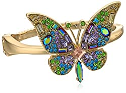 Gold Tone Statement Butterfly Hinged Bracelet With Multi-Shaped Stones