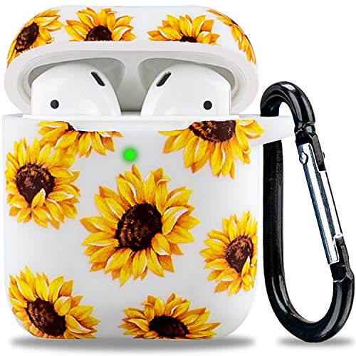 Soft Silicone Airpod Case Flower Print - LitoDream Airpods Case Cover for Apple AirPods 2&1 Cute Women Girls Protective Flexible Skin with Keychain (White + Sunflower)