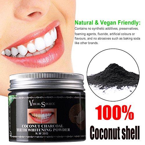 Wyxhkj Zahnpuder, Kokosnussschalenpulver Zahnweißpulver Herb Coconut Natural Organic Activated Charcoal Powder Enthält Aufhellende Inhaltsstoffe für Beseitigen Sie schlechten Atem, Whitening Teeth (A)