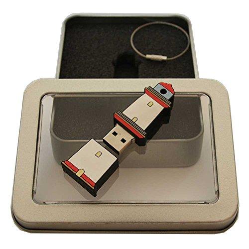 Souvenir Leuchtturm | Geschenkidee: USB-Stick mit Schlüsselanhänger in Form eines Leuchtturms für Frauen & Männer | inklusive Fotogalerie von Sehenswürdigkeiten der Küstenregionen Ostsee & Nordsee | Memory Stick 16 GB | CultourStix