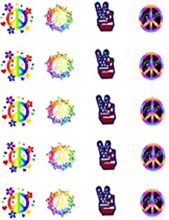 40 70's Retro Peace Signs Nail Art Designs Decals