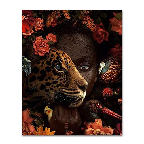 Zwarte Afrikaanse kunst vrouw roze tijger vogel olieverf foto poster en printmaking woonkamer decoratie muur kunst foto