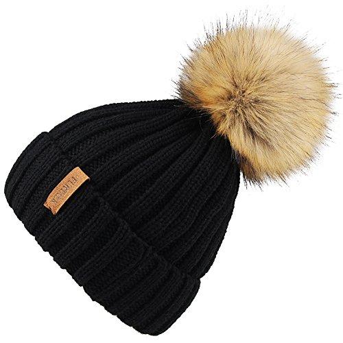 Kids Winter Knitted Pom Beanie Bobble Hat Cotton Lined Faux Fur Ball Pom Pom Cap Unisex Kids Beanie Hat