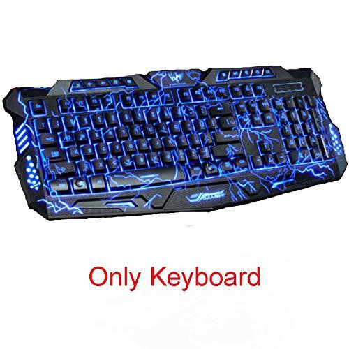 Tri-Color Backlight Computer Gaming Keyboard USB Bedraad Volledige N-Key Game Toetsenbord voor PC Desktop Laptop Russische Sticker (Kleur : Alleen Toetsenbord)