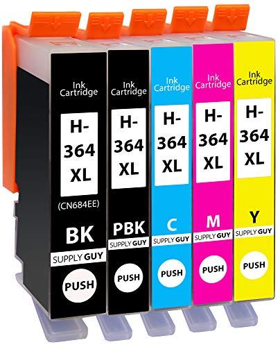 5 Cartuchos de impresión compatibles con HP 364 XL HP364 N9J74AE (1x Negro, 1x Negro-Photográfico, 1x Cian, 1x Magenta, 1x Amarillo)