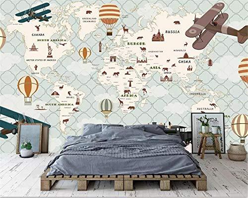 Nomte Hd Kind Tier Heißluftballon Weltkarte Fototapete Studie Kinderzimmer Wohnzimmer Dekor 3D Tapete Modern 350x256cm