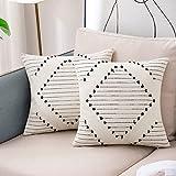 Juego de 2 Fundas Cojines Boho, Fundas de Cojines Decorativos Geométrica Tejida Moderna para Sofa Camas Dormitorio Salón 45x45cm, blanco y negro