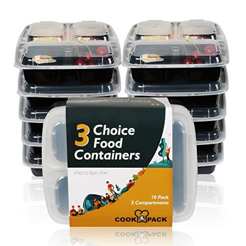 COOK & PACK 3 Fach Meal Prep Box mit passendem Deckel, 10 Stück, robust und Wieder verwendbar, 1 Liter, BPA frei
