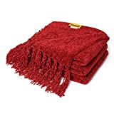 DOZZZ Fluffy Chenille Knitted Throw Blanket with Decorative Fringe for Home Décor Bed Sofa Couch Chair Burgundy Red