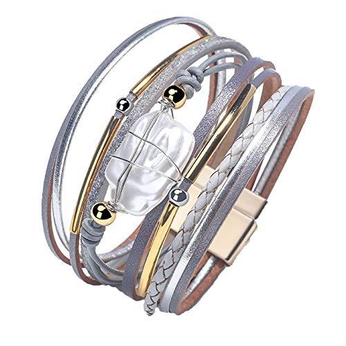 Dootie Pulsera de cuero sintético con perlas barrocas envueltas y preciosas pulseras de tubo de oro hechas a mano, joyería bohemia