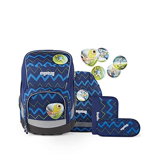 ergobag Wide zaino scolastico con accessorio set di 5pz. incl. Klettie-Set