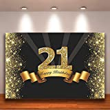 Crefelicid 7x5ft 21st Happy Birthday Backdrop Black and Gold Shiny 21 Twenty One Bday Background Gold Banner Teenager Party Supplies Photography Background