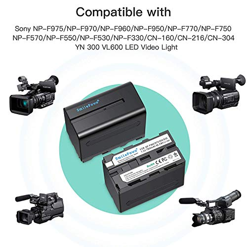 SmilePowo 2 Pack NP-F970 Battery 7800mAh for Sony NP-F975, NP-F960, NP-F950, NP-F930, NP-F770, NP-F750, NP-F550, DCR, DSR, HDR, FDR, HVR, HVL and LED Light